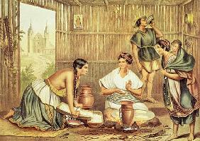 Indians Preparing Tortillas, from ''An Album of the Mexican Republic''