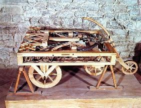 Model of a car driven springs, made from one of Leonardo''s drawings