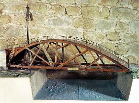 Model of a swing bridge made from one of Leonardo''s drawings