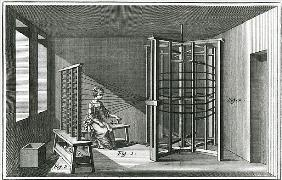Warping silk threads, illustration from the Encylopedia of Denis Diderot (1713-84) 1751-72