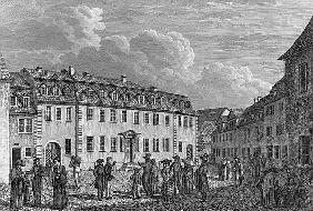 The house of Johan Wolfgang von Goethe (1749-1832) in Weimar; engraved by Ludwig Schutze (1807-72) 1