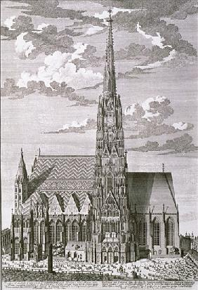 View of St. Stephan''s Cathedral, Vienna ; engraved by George-Daniel Heumann (1691-1759)