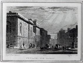 Newgate prison and the Old Bailey; engraved by Robert Acon