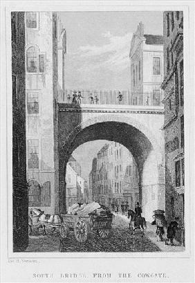 South Bridge from the Cowgate, Edinburgh ; engraved by William Watkins