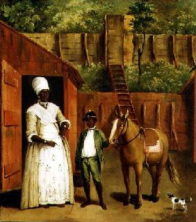 A Negro Mother and Son with a Pony outside a Stable