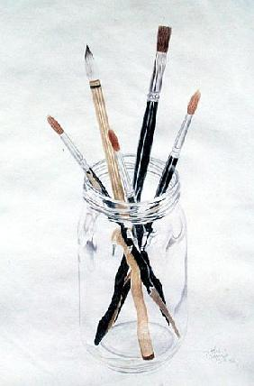 Brushes in a Jar, 1982 (coloured pencil on paper)
