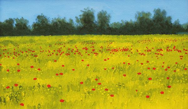 Yellow Field with Poppies, 2002 (oil on canvas)