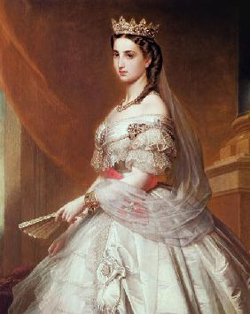 Portrait of Charlotte of Saxe-Cobourg-Gotha (1840-1927) Princess of Belgium and Empress of Mexico