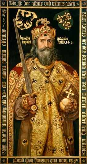 Albrecht D�rer - Charlemagne, Charles the Great (747-814) King of the Franks, Emperor of the West, in his coronation