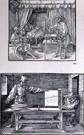 Apparatus for translating three-dimensional objects into two-dimensional drawings, two scenes from t pub. 1525