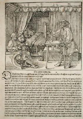 Artist using Durer's drawing machine to paint a figure, from 'Course in the Art of Drawing' by Albre published