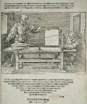 Scene from Durer's 'Course in the Art of Drawing' published