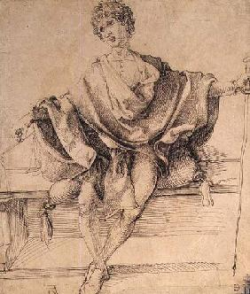 Seated Youth with Scales and a Cane 1498  and