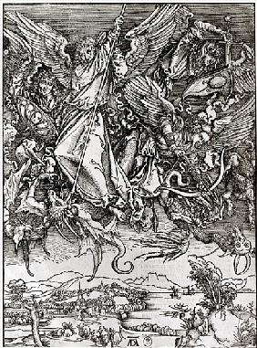 St. Michael and the Dragon, from a Latin edition, 1511 (xylograph)