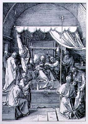 The Death of the Virgin from the ''Life of the Virgin'' series; engraved 1510, pub. 1511