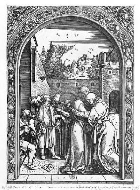 The meeting of St. Anne and St. Joachim at the Golden Gate, from the ''Life of the Virgin'' series