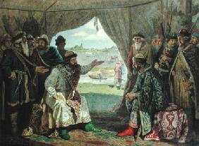 The Convention of Princes with Grand Duke Vladimir Monomakh II (1053-1125) at Dolob in 1103 1880  on