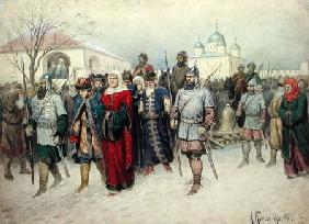 Joining of Great Novgorod, Novgorodians Departing to Moscow 1880  on