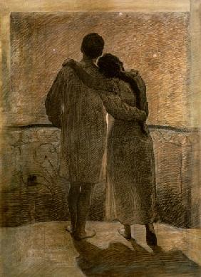 Young Couple, central panel from the Dream and Reality Triptych 1905