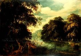 Forest landscape with birdcatchers beside a river (panel)