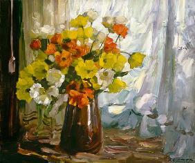 Kunstdruck von Alexander Koester - Mohn in brauner Vase