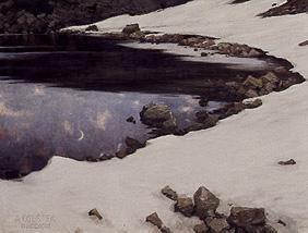 Kunstdruck von Alexander Koester - Mondschein am verschneiten Kassian-See
