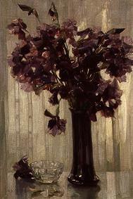 Kunstdruck von Alexander Koester - Vase mit violetten Blumen