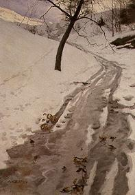 Kunstdruck von Alexander Koester - Winterlicher Weg bei Klausen/Südtirol