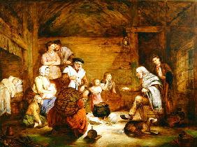 In the Crofter's Home, 1868 (oil on canvas)
