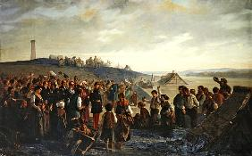 Napoleon III visiting the slate quarries of Angers