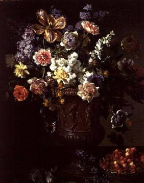 Flowers in a Sculpted Urn with a Bowl of Wild Strawberries and Hare on a Ledge 1715