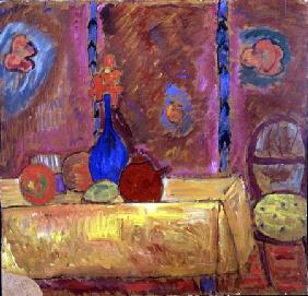Still Life with Jug and Sculpture on a Table (board)
