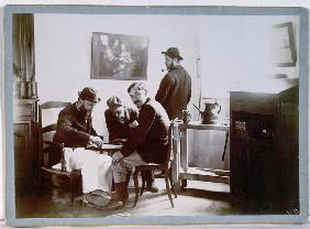 Playing Draughts at Le Relais, late 19th century (b/w photo)