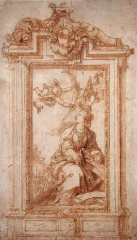 Architectural Design with Female Figure and Putti (pen & ink and wash on paper)