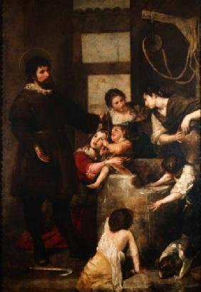St. Isidore saves a child that had fallen in a well 1646-8