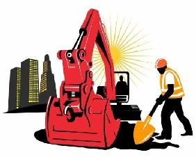 Mechanical Digger with construction work