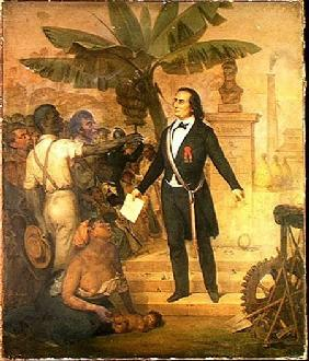 Joseph Napoleon Sebastien Sarda Garriga (1808-77) with the Emancipation Decree on La Reunion 10th Decem