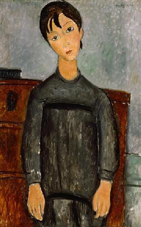 Kunstdruck von Amadeo Modigliani - Mädchen mit schwarzer Schürze