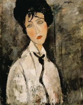 Kunstdruck von Amadeo Modigliani - Frauenbildnis mit Krawatte