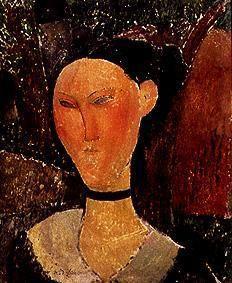 Kunstdruck von Amadeo Modigliani - Junge Frau mit Velour-Halsband.