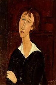 Kunstdruck von Amadeo Modigliani - Junge Frau mit weissem Kragen