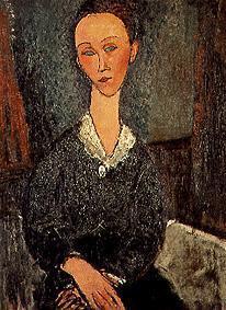 Kunstdruck von Amadeo Modigliani - Frauenbildnis mit weißem Spitzenkragen