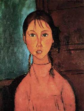 Kunstdruck von Amadeo Modigliani - Bildnis eines jungen Mädchens.