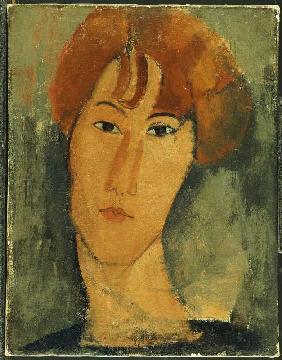 Kunstdruck von Amadeo Modigliani - Rothaarige junge Frau mit Halskrause