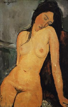 Kunstdruck von Amadeo Modigliani - Ausschnitt Sitzender weiblicher Akt 2