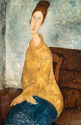 Kunstdruck von Amadeo Modigliani - Jeanne Hebuterne in a Yellow Jumper
