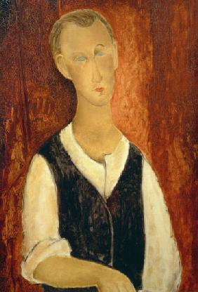 Kunstdruck von Amadeo Modigliani - Junger Mann mit schwarzer Weste
