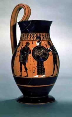 Attic black-figure olpe depicting Athena Confronting Poseidon, 6th century BC (pottery) 20th