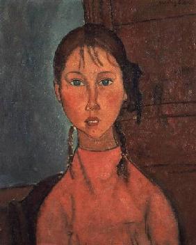Kunstdruck von Amadeo Modigliani - Girl with Pigtails