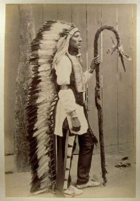 Portrait of a Native American from ''Buffalo Bill''s Wild West'', 1889 (b/w photo)